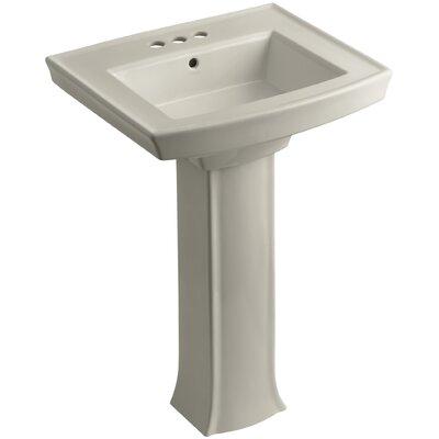 Archer Pedestal Bathroom Sink Finish: Sandbar, Faucet Hole Style: 4 Centerset