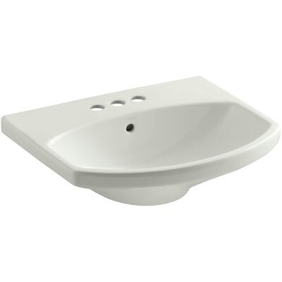 Cimarron� Ceramic 23 Pedestal Bathroom Sink with Overflow Sink Finish: Dune, Faucet Mount: 8 Widespread
