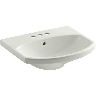 Cimarron� Ceramic 23 Pedestal Bathroom Sink with Overflow Sink Finish: Dune, Faucet Mount: 4 Centerset