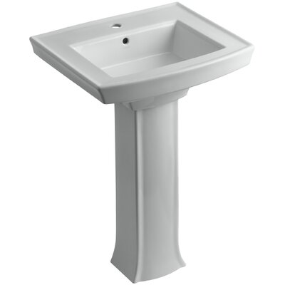 Archer Pedestal Bathroom Sink Finish: Ice Grey, Faucet Hole Style: Single