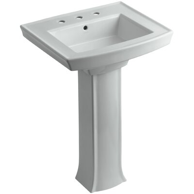 Archer Pedestal Bathroom Sink Finish: Ice Grey, Faucet Hole Style: 8 Widespread