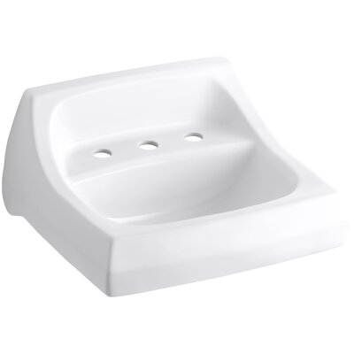 Kingston Ceramic 22 Wall Mount Bathroom Sink with Overflow Finish: White