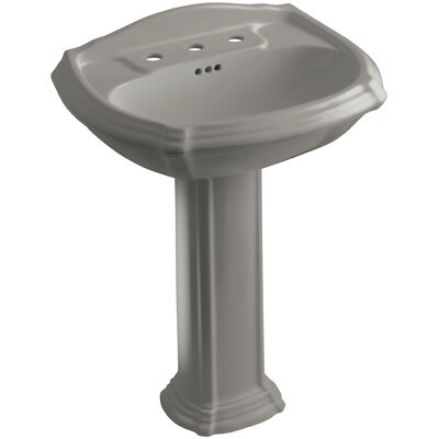 Portrait� Ceramic 27 Pedestal Bathroom Sink with Overflow Finish: Cashmere, Faucet Hole Style: 4 Centerset