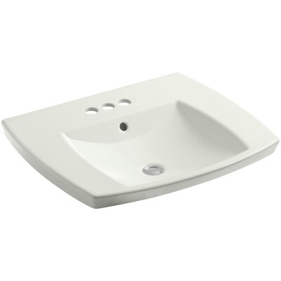 Kelston� Ceramic Rectangular Drop-In Bathroom Sink with Overflow Finish: Dune, Faucet Hole Style: 8'' Widespread
