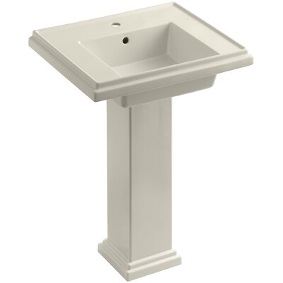Tresham 24 Pedestal Bathroom Sink with Overflow Finish: Almond, Faucet Hole Style: 8 Widespread