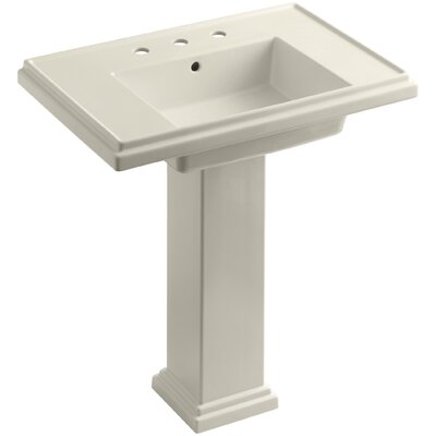 Tresham� Ceramic 30 Pedestal Bathroom Sink with Overflow Finish: Almond, Faucet Hole Style: 8 Widespread