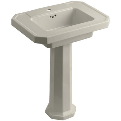 Kathryn Ceramic 27 Pedestal Bathroom Sink with Overflow Finish: Sandbar, Faucet Hole Type: Single