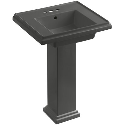 Tresham 24 Pedestal Bathroom Sink with Overflow Finish: Thunder Grey, Faucet Hole Style: Single