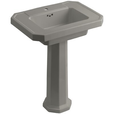 Kathryn Ceramic 27 Pedestal Bathroom Sink with Overflow Finish: Cashmere, Faucet Hole Type: Single