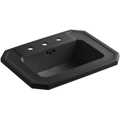 Kathryn� Ceramic Rectangular Drop-In Bathroom Sink with Overflow Finish: Black Black