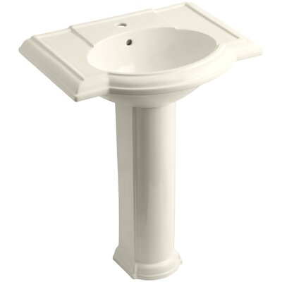 Devonshire� Ceramic 28 Pedestal Bathroom Sink with Overflow Finish: Almond, Faucet Hole Style: 8 Widespread