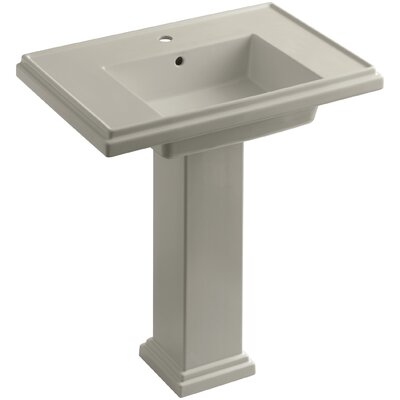 Tresham 30 Pedestal Bathroom Sink with Overflow Finish: Sandbar, Faucet Hole Style: Single