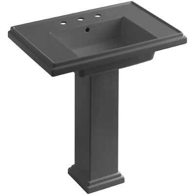 Tresham� Ceramic 30 Pedestal Bathroom Sink with Overflow Finish: Thunder Grey, Faucet Hole Style: Single