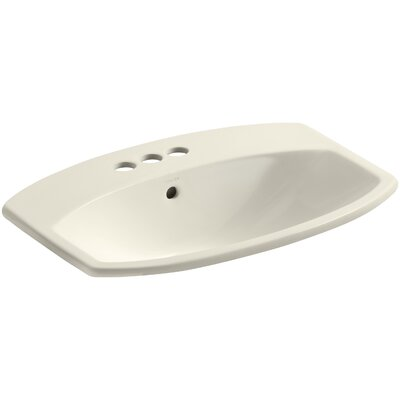Cimarron Ceramic Rectangular Drop-In Bathroom Sink with Overflow Finish: Almond, Faucet Hole Style: Single