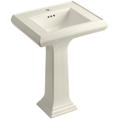 Memoirs� Ceramic 24 Pedestal Bathroom Sink with Overflow Finish: Almond, Faucet Hole Style: 4Centerset