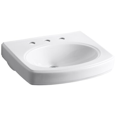 Pinoir Ceramic 30 Wall Mount Bathroom Sink with Overflow Finish: White