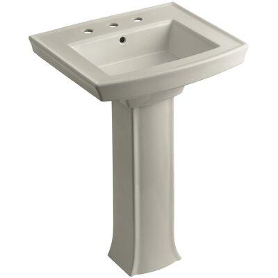Archer Pedestal Bathroom Sink Finish: Sandbar, Faucet Hole Style: 8 Widespread