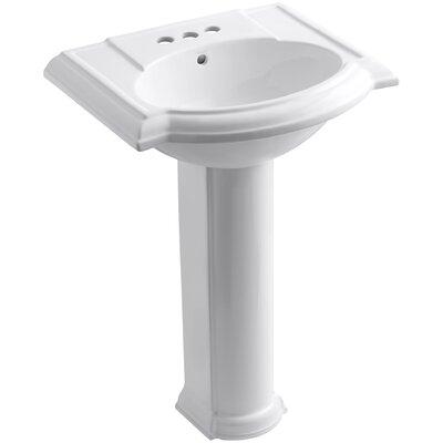 Devonshire 24 Pedestal Bathroom Sink Finish: White, Faucet Hole Style: Single