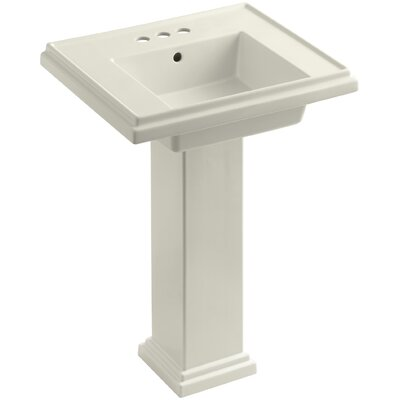 Tresham 24 Pedestal Bathroom Sink with Overflow Finish: Biscuit, Faucet Hole Style: 8 Widespread