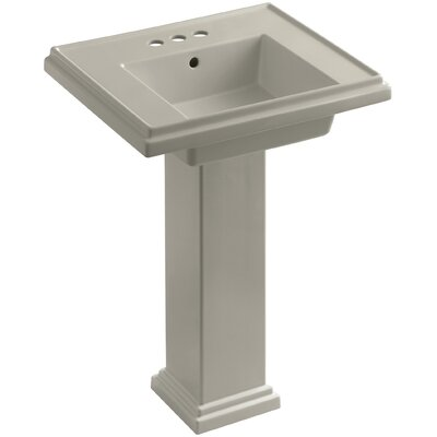 Tresham� Ceramic 24 Pedestal Bathroom Sink with Overflow Finish: Sandbar, Faucet Hole Style: 4 Centerset