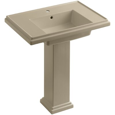 Tresham� Ceramic 30 Pedestal Bathroom Sink with Overflow Finish: Mexican Sand, Faucet Hole Style: Single