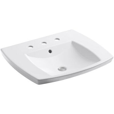 Kelston� Ceramic Rectangular Drop-In Bathroom Sink with Overflow Finish: White, Faucet Hole Style: 4 Centerset
