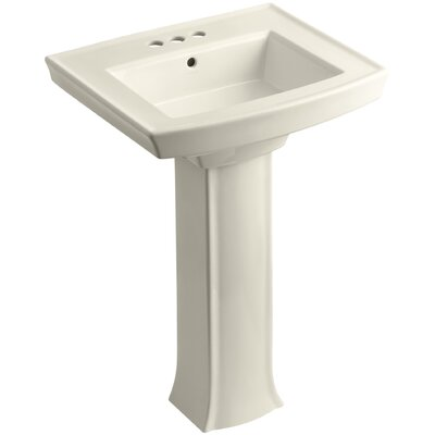 Archer Pedestal Bathroom Sink Finish: Almond, Faucet Hole Style: 4 Centerset
