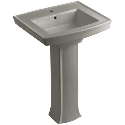 Archer Pedestal Bathroom Sink Finish: Cashmere, Faucet Hole Style: Single