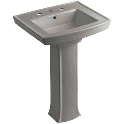 Archer Pedestal Bathroom Sink Finish: Cashmere, Faucet Hole Style: 8 Widespread