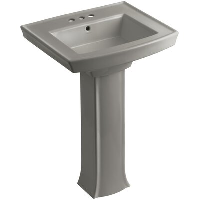Archer 27 Pedestal Bathroom Sink Finish: Cashmere, Faucet Hole Style: 4 Centerset