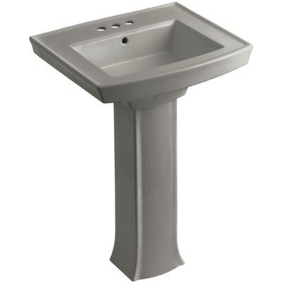 Archer Pedestal Bathroom Sink Finish: Cashmere, Faucet Hole Style: 4 Centerset