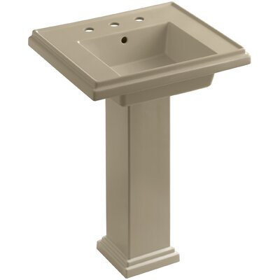 Tresham� Ceramic 24 Pedestal Bathroom Sink with Overflow Finish: Mexican Sand, Faucet Hole Style: 8 Widespread