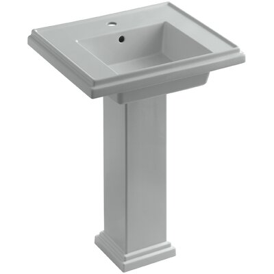 Tresham 24 Pedestal Bathroom Sink with Overflow Finish: Ice Grey, Faucet Hole Style: Single