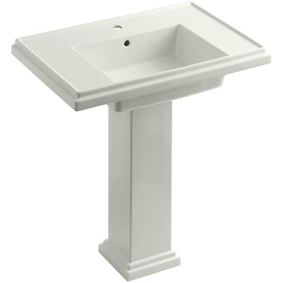Tresham 30 Pedestal Bathroom Sink with Overflow Finish: Dune, Faucet Hole Style: Single