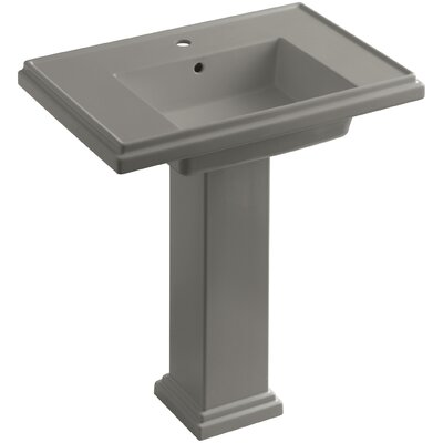 Tresham� Ceramic 30 Pedestal Bathroom Sink with Overflow Finish: Cashmere, Faucet Hole Style: Single