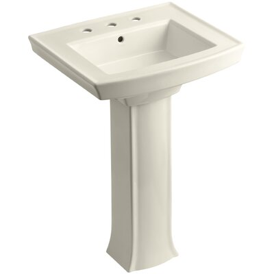Archer 27 Pedestal Bathroom Sink Finish: Almond, Faucet Hole Style: 8 Widespread