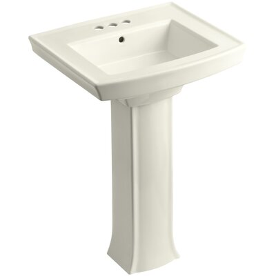 Archer Pedestal Bathroom Sink Finish: Biscuit, Faucet Hole Style: 4 Centerset