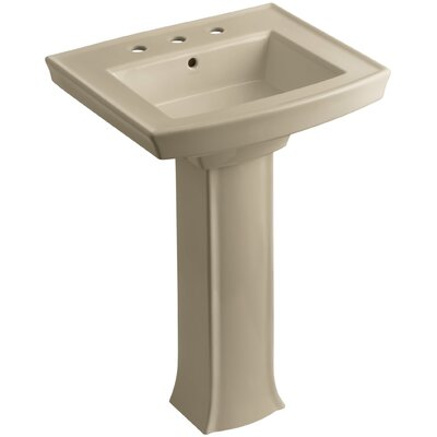 Archer Pedestal Bathroom Sink Finish: Mexican Sand, Faucet Hole Style: 8 Widespread
