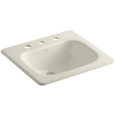 Tahoe Metal Rectangular Drop-In Bathroom Sink with Overflow Finish: Almond