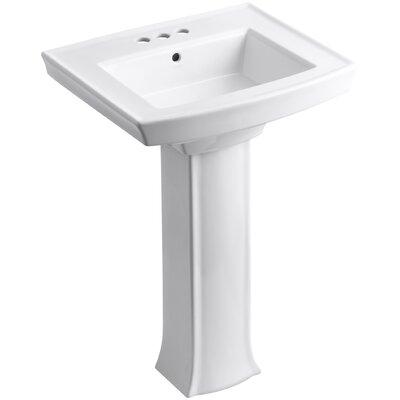 Archer Pedestal Bathroom Sink Finish: White, Faucet Hole Style: 4 Centerset