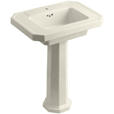 Kathryn Ceramic 27 Pedestal Bathroom Sink with Overflow Finish: Almond, Faucet Hole Type: Single