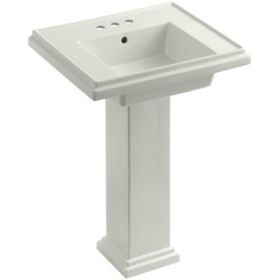 Tresham� Ceramic 24 Pedestal Bathroom Sink with Overflow Finish: Dune, Faucet Hole Style: 8 Widespread
