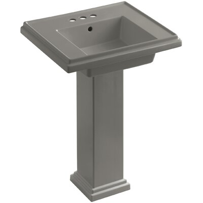 Tresham� Ceramic 24 Pedestal Bathroom Sink with Overflow Finish: Cashmere, Faucet Hole Style: 8 Widespread