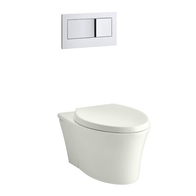 Veil One-Piece Elongated Dual-Flush Wall-Hung Toilet with Reveal Quiet-Close Seat Finish: Dune