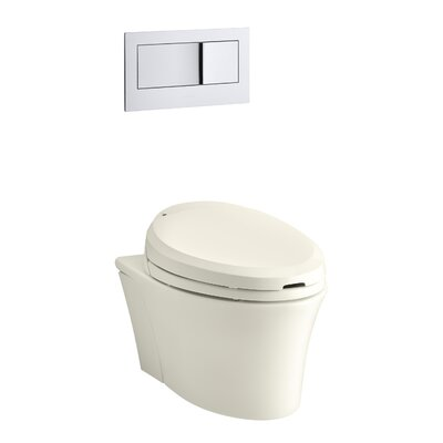 "Veil One-Piece Elongated Dual-Flush Wall-Hung Toilet with C3 Bidet Toilet Seat and 2""X6"" In-Wall Tank and Carrier System Finish: Biscuit"