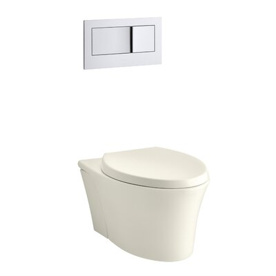 Veil One-Piece Elongated Dual-Flush Wall-Hung Toilet with Reveal Quiet-Close Seat Finish: Biscuit