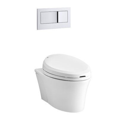 Veil One-Piece Elongated Dual-Flush Wall-Hung Toilet with C3 Bidet Toilet Seat and 2X6 In-Wall Tank and Carrier System Finish: White