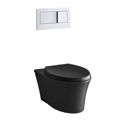 Veil One-Piece Elongated Dual-Flush Wall-Hung Toilet with Reveal Quiet-Close Seat Finish: Black Black