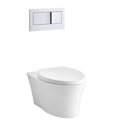 Veil One-Piece Elongated Dual-Flush Wall-Hung Toilet with Reveal Quiet-Close Seat Finish: White