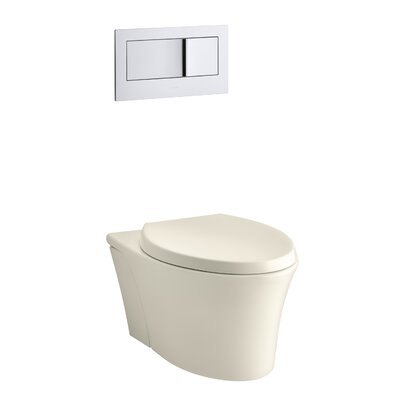 Veil One-Piece Elongated Dual-Flush Wall-Hung Toilet with Reveal Quiet-Close Seat Finish: Almond